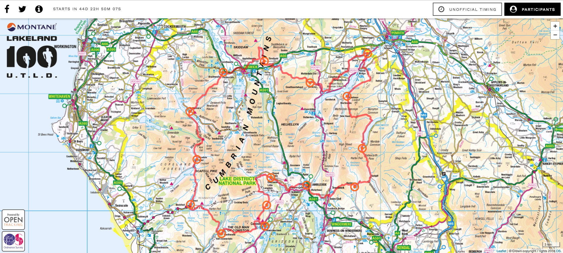 Lakeland 100 and Lakeland 50 tracking page